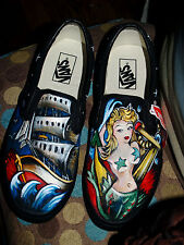 Custom TATTOO hand painted Men's sneakers VANS slip ons Nautical sailor mermaid
