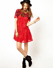 Free People Beautiful Dreamer Red Embroidered Lace Boho Dress M NWT $128