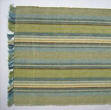 "MEADOW BROOK 13"" x 36"" Cotton Table Runner Blues, Greens, Cream Stripe"