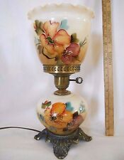 Fenton Hand Painted Floral Glass Hurricane Table Desk Lamp Antique Brass Finish