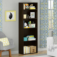 5 Shelf Bookcase Cherry Wood Book Case Library Shelves Storage Office