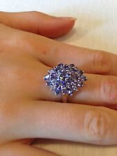 Genuine Beautiful Tanzanite Cluster Ring 3.83ct TGW Size 7