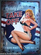 plaque publicitaire pin up take off bombardier avion sexy 40x30cm tole  na23175