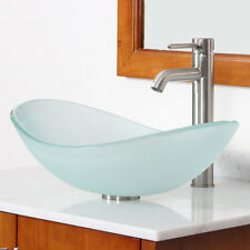 New Bathroom Boat Shape Frosted Glass Vessel Sink & Brushed Nickel Faucet Combo