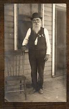 1907-1920s INTERESTING PORTRAIT OLD MAN in HAT ~ Real Photo postcard