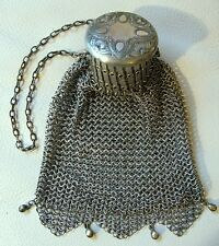 Antique Victorian Art Nouveau Geometric Silver T Gate Top Coin Tassel Purse #66