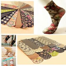 6 Pairs Fahion Women's Vintage Printing Floral  Stockings Ankle Socks Hosiery