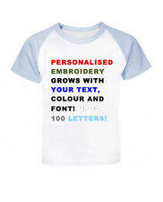 Personalized Your Text Embroidery Baseball Baby/Children T-shirt, Birthday Gift