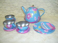 CHILD'S TIN TEA SET TEAPOT CUPS PLATES  11 PC  SCHYLLING 2007