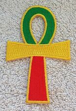 RASTA ANKH CROSS PATCH Cloth Badge/Emblem/Insignia Biker Jacket Rastafarian Flag