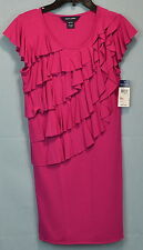 Girls Dark Pink Cascading Ruffle Dress by Ralph Lauren Size Medium (8/10)