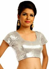Silver Choli Sari Blouse Indian Saree Shirt Bollywood Top Belly Dance Choli