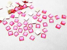 200pcs 6*6mm Flat Back Square Faceted Rhinestones Craft DIY Jewelry Pink color