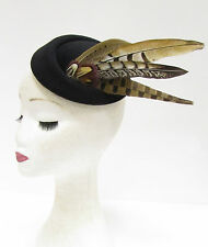 Black Brown Pheasant Feather Pillbox Hat Headpiece Hair Fascinator Vintage 2219