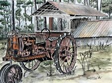 old tractor watercolor farm painting folk art print antique tractors drawing