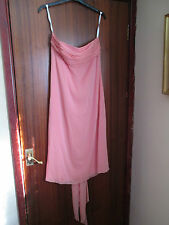VIVIAN DIAMOND DESSY ORGANDY DRESS IN PEACH STRAPLESS KNEE LENGTH SIZE 10