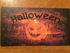 Tin Sign Vintage Halloween Pumpkin Wooden Background