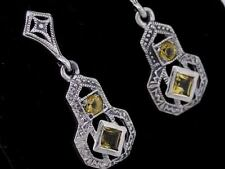 Vintage Style 925 Solid Silver NATURAL Citrine Drop Earrings