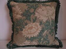 Housse de coussin vintage morris sanderson tissu de lin chrysanthème vert ruché