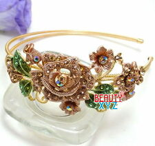 New Fashion Brown color Rhinestone elegant flower crystal metal headband #8911