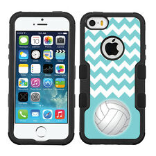 For Apple iPhone 5C 3-Layer Hybrid Case (Blk/Blk/Slim) - Volleyball / Chevron