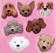 Dog Faces Square 7 Cavity Silicone Mold for Fondant Gum Paste Chocolate NEW
