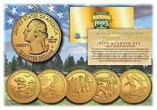 2016 24K Gold National Parks America the Beautiful Coins *Set of all 5 Quarters*