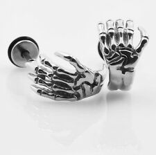 2pcs Punk Retro Skeleton Hand Ear Stud Earring Barbell Stainless Steel Jewelry
