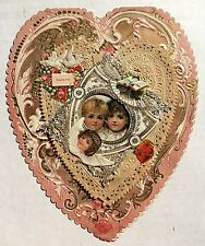 1890s Valentine's Day Card Heart Shaped w/ Flaming Sacred Heart & Angels