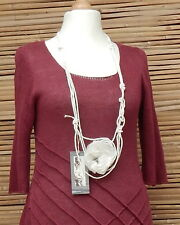 *ZUZA BART*DESIGN LINEN AMAZING BEAUTIFUL APPLIQUE NECK SCARF NECKLACE*WHITE*