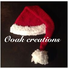 Crochet 3-6 Months Baby Santa Hat Christmas Photography Prop Or Gift