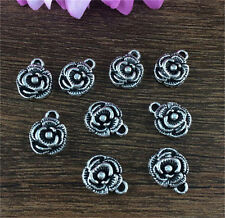 Wholesale 12pcs Tibet silver Rose Charm Pendant beaded Jewelry Findings