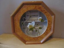 Wooden Octagon Shaped Jewelry/Trinket Box w/Floral Design Glass by MELE~VG Shape