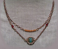 ANTIQUED COPPER AQUA OPAL GLASS CARNELIAN LAYERED NECKLACE BOHO TURQUOISE BAR
