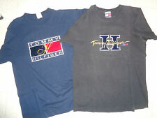 VINTAGE 1990's TOMMY HILFIGER LOT OF 2 T-SHIRTS SIZE MEDIUM NAVY BLUE & BLACK