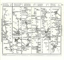 Antique map, The Roads from Plymouth to Dartmouth & from Glocester to Coventry