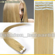 Factory Price Tape In Real Human Hair Extensions Golden Blonde 16inch 20Pcs 30G