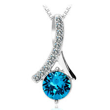 Zumqa 16074-1930 Round Crystal Necklace with Blue Swarovski elements COD PAYPAL