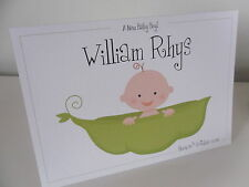 Handmade Personalised New Baby Boy or Girl Congratulations Card - Cute Pea Pod