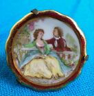"""Limoges Miniature Plate Hand Painted~Romantic Couple Courting~1 3/4"""" D."""