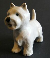Miniature Figurine West Highland Terrier Standing Hand Painted Porcelain Dog
