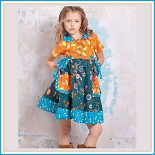 BonEful RTS NEW Boutique 6*X GIRL Jumper Dress Flower Cotton Fabric Thanksgiving