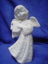 """E220-Ceramic Bisque 7 1/2"""" Angel w/Flower Robe-Harp - Ready to Paint"""