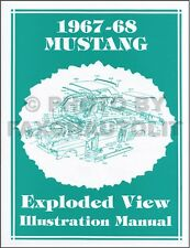 1967-1968 Ford Mustang Parts Illustration Manual Exploded Views 67 68