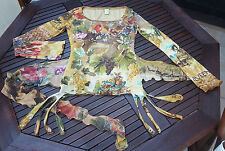 SAVE THE QUEEN TOP Birds Autumnal Mesh Stretch Fit L UK 10/12 Made in Italy EUC