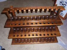 Vintage Decatur Industries Walnut SMOKING PIPE RACK Holder 3 Tier 36 Pipe Holder