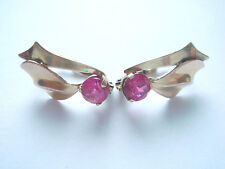 VINTAGE ESTATE CZECH RUBY SOLID YELLOW & ROSE 14CT GOLD EARRINGS