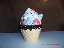Large Ice Cream Cone Cookie Jar  W / Cherry on Top