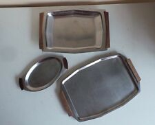 Lot of 3 Norwegian Stainless Steel Kitchen Serving Trays Food Party Platters Woo