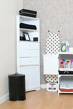 White Wooden Corner Storage Unit Kitchen Bathroom Shelving Drawer Tower Cabinet